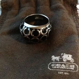 COACH black silver Dome Ring